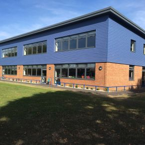 Blue Hardy Plank Cladding, at West Mosely School