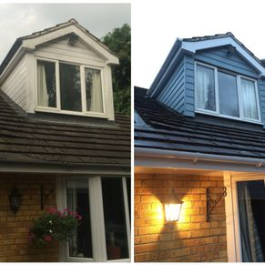 Dormer in Blue Grey Marley eternit cladding, before and after