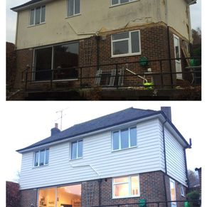 Before and after exterior renovation, Marley cladding beige